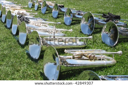Marching baritones lined up.