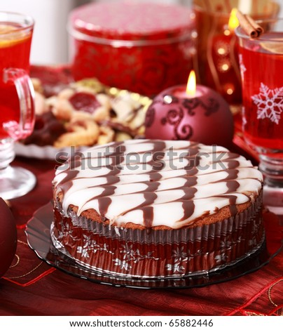 Marchpane cake with wine punch and cookies for Christmas