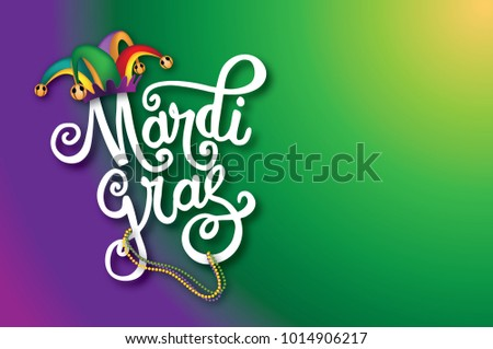 Mardi Gras (fat Tuesday) background with hand drawn lettering wearing a cartoon jester hat.