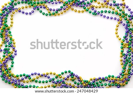 Mardi gras frame of three colours of beads
