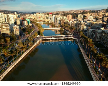Marga Marga River in Viña del Mar just before its mouth in the Pacific Ocean