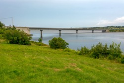 Margaree Harbour, Cape Breton, Nova Scotia,  Canada - August 12, 2016 : Bridge on Cabot Trail road crosses the Margaree River on a summer's day in August.