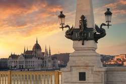 Margaret bridge and Hungarian Parliament building. Amazing composition of monuments in this city. Capital of Hungary