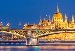 Margaret Bridge with 4-6 tram, Hungarian Parliament, Danube - Budapest - Hungary