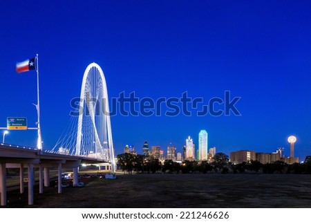 Margaret Hunt Hill Bridge and Dallas City skyline at twilight, Texas #221246626