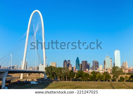 Margaret Hunt Hill Bridge and Dallas City skyline, Texas #221247025