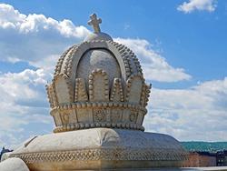 Margaret Island Bridge in Budapest with Magyar Kiralysag Crown