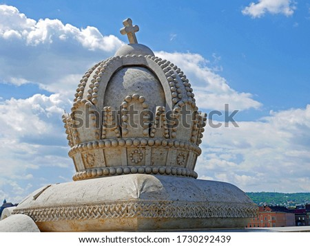 Margaret Island Bridge in Budapest with Magyar Kiralysag Crown Stock fotó ©