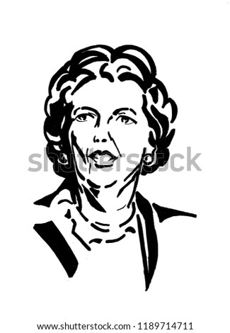 Margaret THATCHER British Prime Minister, portrait is hand drawn by pen with black ink
