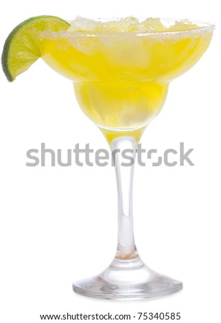 margarita cocktail on white background