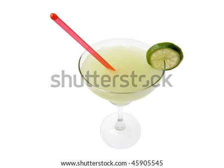 Margarita mixed drink with lime slice garnish on white backgound