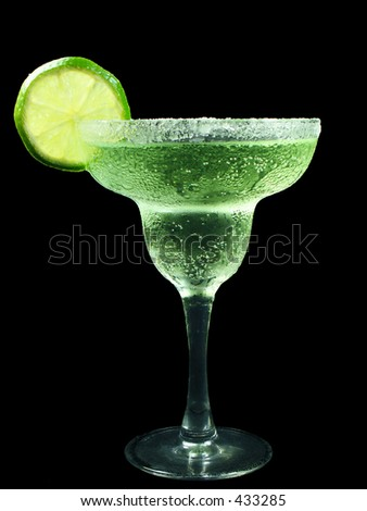 margarita with lime isolated on black