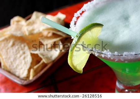 Margarita with nacho chips