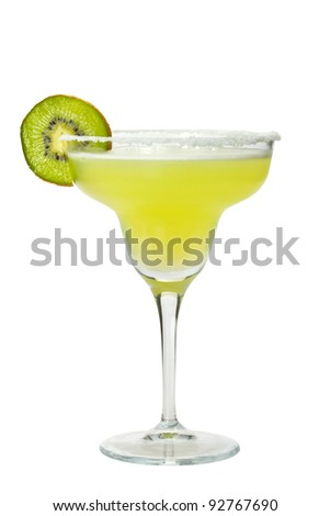Margarita with salt and kiwi on glass rim