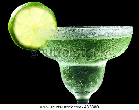 margarita with salt and lime isolated on black