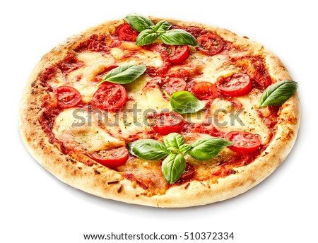Margherita Italian pizza with melted mozzarella cheese and tomato garnished with fresh basil on a thick crust