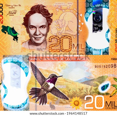 Maria Isabel Carvajal (Carmen Lyra), Portrait from Costa Rica 20,000 Colones 2020 Polimer Banknotes. Zdjęcia stock ©