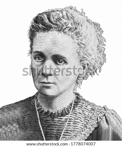 Maria Salomea Sklodowska-Curie Portrait from  Poland Banknotes. Photo stock ©