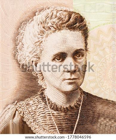 Maria Salomea Sklodowska-Curie Portrait from Poland 20 Zlotych 2011 Banknotes. Photo stock ©