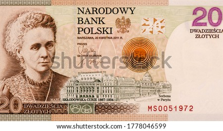 Maria Salomea Sklodowska-Curie Portrait from Poland 20 Zlotych 2011 Banknotes. An Old paper banknote, vintage retro. Famous ancient Banknotes. Collection. Photo stock ©
