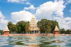Mariamman Teppakkulam tank with Meenakshi Temple is site of Teppam (float) festival , Madurai, Tamil Nadu, India