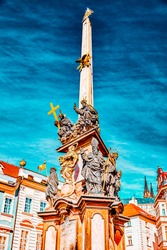 Marian columns are religious monuments built in honour of the Blessed Trinity, often in thanksgiving for the ending of a plague-and known as plague columns in area Prague's Mala Strana