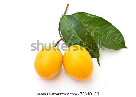 Marian plum (Maprang, Thai fruits) on white background.