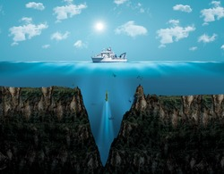 Mariana Trench. the deepest point of the earth.Digital Visual Illustration of Mariana Trench. Viewof the Mariana Trench, the deepest depths in the Western Pacific.Bermuda Triangle mystery Ocean center