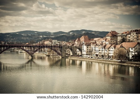 Maribor in Slovenia with river Drava -colorized photo for old mood