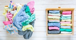 Marie Kondo tyding up method concept - before and after kids clothes drawer, copy space