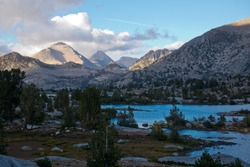 Marie Lake as the sunsets on the John Muir Trail in the High Sierra Mountains