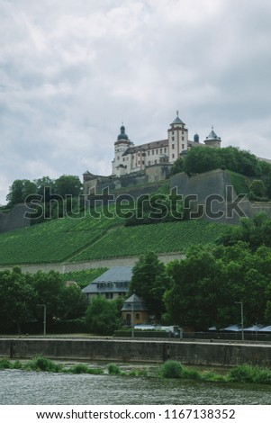 marienberg fortress on hill near main river in Wurzburg, Germany #1167138352