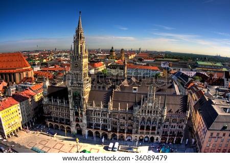 Marienplatz from tower in Munich, Germany
