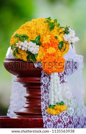 Marigold garland, flower garland texture background #1135563938