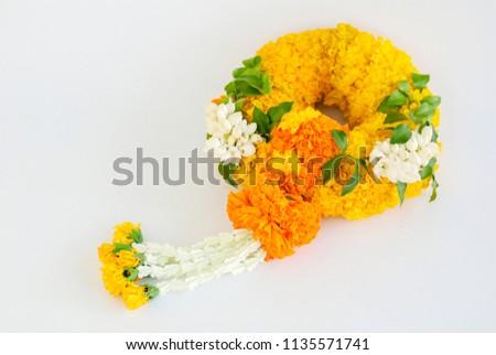 Marigold garland, flower garland white background #1135571741