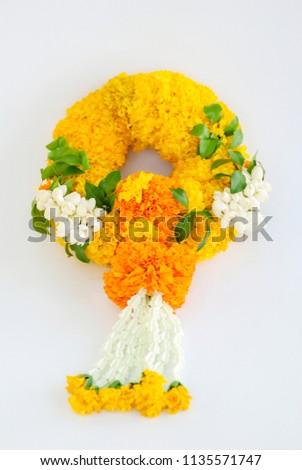 Marigold garland, flower garland white background #1135571747