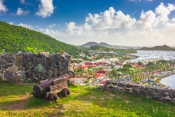 Marigot, Saint Martin town skyline from Fort Louis in the Caribbean.