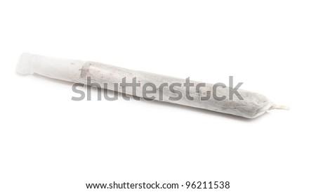 Marijuana joint isolated on white background. - stock photo