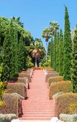 Marimurtra botanical gardens landscape in Blanes, Costa Brava, Spain