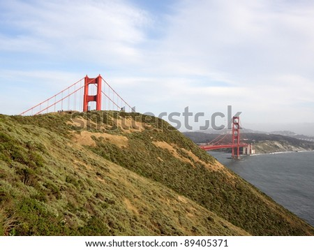 Marin Headlands and Golden Gate Bridge with San Francisco in the Distance