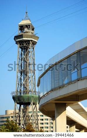 marina and tower Laume I in barcelona, spain