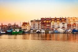 Marina at Motlawa river at sunrise in Gdansk, Poland.