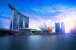 Marina bay Singapore at dusk, Singapore city skyline