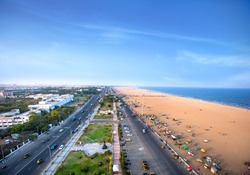 Marina Beach chennai city tamil nadu india bay of bengal madras view from light house