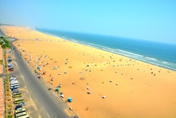 Marina beach in Chennai City, India. It is one of the popular tourist attraction in Chennai. It is longest urban natural beach in India, situated along the coast of Bay of Bengal.