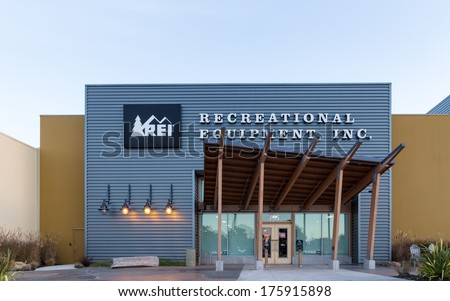 MARINA, CA/USA - DECEMBER 30, 2013: REI store in Marina, California.  Recreational Equipment Inc. is a retail corporation organized as a consumers' cooperative.
