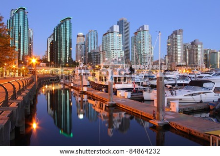 Marina Dawn, Coal Harbor, Vancouver. A marina and condominiums in downtown Vancouver's upscale Coal Harbor.