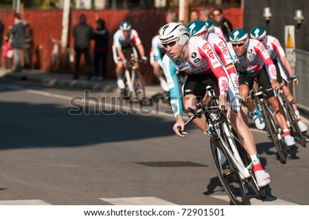MARINA DI CARRARA, CARRARA , ITALY - MARCH 09: Team Omega Pharma - Lotto during the 1st Time Trial stage of 2011  Tirreno-Adriatico on March 09, 2011 in Marina di Carrara, Carrara, Italy