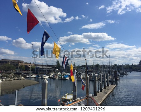 Marina Filled with Boats and Decks in South Puget Sound Port Town and Capital-Olympia, Washington State