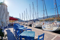 Marina harbour with beautiful white yachts in Poros, Greece.